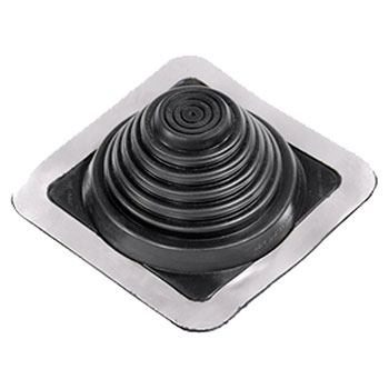 #3 Master Flash BLACK EPDM Square-Base Pipe Flashing - #3 Master Flash Black EPDM Pipe Flashing Boot. 8x8 Inch Square Base. Fits 1/4 - 4 Inch (6mm To 102mm) Pipes. Closed Top. Price/each.