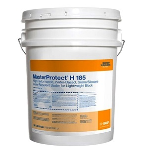 MasterProtect H 185 Concrete/Masonry Silane Sealer (5G) - MasterProtect H 185 High-Performance Sealer. Water-based Clear  Silane/Siloxane. For Challenging Masonry like Split-faced and Lightweight Block or CMU. VOC Compliant. 5-Gallon Pail. Price/Pail. (leadtime 2-4 weeks for <5 pail orders)