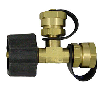 Propane T-Adaptor, Type-1 Acme x 2 Male 1 inch Fittings - MEC #ME412, Propane T-Adaptor for Campers, 1-15/16 Inch Female Acme x Two 1-Inch-20 Male Type-1 Outlets (with Caps). Adapts a Refillable Propane Tank to 2 Appliances or Connections. Price/Each.