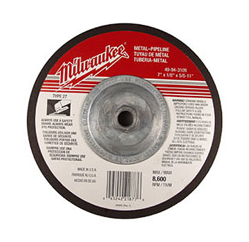 Milwaukee 49-94-3173 Alum. Oxide Grinding Wheel 7 x 1/4 x 7/8 in. Arbor. - MILWAUKEE 49-94-3173 ALUMINUM OXIDE GRINDING WHEEL, 7 INCH OD X 1/4 INCH THICK. 7/8 INCH ARBOR HOLE. TYPE 27 WITH DEPRESSED CENTER. PRICE/EACH.