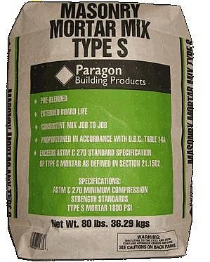 Masonry Mortar Mix, Type-S, 1800 PSI, 80 lb. - Masonry Mortar Mix. Exceeds ASTM Specs C-270 for Type-S Masonry Mortar 1800 PSI and ASTM C-926. 80 lbs/Bag. Price/Bag. (42 bags/pallet; order full pallets for added discounts)