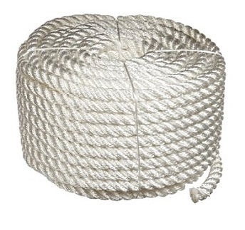 1 inch x 100 ft. White 3-Strand Twisted Nylon Rope - 1 inch x 100 foot 3-Strand Twisted White Nylon Rope, Industrial Grade, 22,600 lb. Break Strength. Coil Packaging. Price/Each. (aka #TWN320100)
