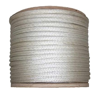 1 in. x 1200 ft. Double Braided White Nylon Rope - 1 inch x 1200 foot Double-Braided Nylon Rope, White. 33,600 lb. minimum break strength. High-performance, superior elasticity, and very durable marine application rope. Price/Each. (truck shipping; use FreightQuote service)