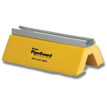 PipeGuard Pipe Support, 10 in. Strut (box/10) - PipeGuard Rooftop Pipe Support, 10 Inch Wide Strut Model. Safety-Yellow Color. Up to 6 inch Pipes, Clearance height 3-1/2 inches, 10-inch wide HDPE base, Galvanized Strut Channel, Supports 1000 lbs. 10/Box. Price/Box. (leadtime 1-3 days)