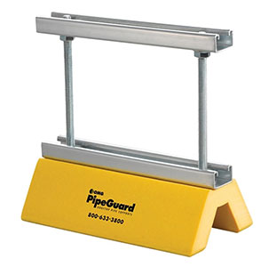 PipeGuard Pipe Support with Height-Adjustable Strut  (box/5) - PipeGuard 3-1/2 to 10-Inch Height-Adjustable Pipe Support, 10-inch wide Galvanized U-Strut, Safety-Yellow Color HDPE Base. Supports up to 6-inch pipe sizes and 1000 lbs. 5/Box. Price/Box. (leadtime 1-3 business days)
