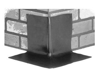 BLACK EPDM Premolded OUTSIDE Corner Flashing - Black Color EPDM Pre-molded Outside Corner Flashing. 11-3/4 x 11-3/4 x 7 inches high. Made with .060-.075 inch thick solid virgin EPDM rubber. Price/Each.