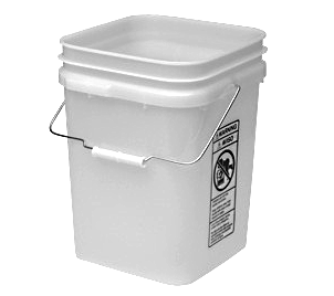 4 Gallon Square Plastic Pail w/Handle, FDA Food Grade - 4 Gallon Square HDPE Plastic Pail with Metal Handle / Plastic Grip, FDA Food Grade HDPE. Inside is 9-1/4 x 9-1/4 x 13-1/2 inches. Overall is 10 x 10 x 13-1/2. Price/Each. (aka plastican # 34SK; special shipping available - email us)