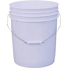 5 Gallon Heavy Duty Plastic Pail - 5 GALLON HEAVY DUTY HDPE PLASTIC PAIL, 70 MIL THICK, WITH METAL HANDLE. (LID NOT INCLUDED). LEAKTITE #P5GL OR EQUIVALENT. PRICE/EACH. (generally white but color may vary; 120 per pallet)