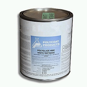Polyglaze 400C Top Coat, WHITE, 2-part kit (1G) - POLYGLAZE 400C WHITE COLOR WATERPROOFING TOP COAT, 2-PART KIT (TINTABLE COATING WITH 1/2-PINT WHITE COLOR TINT PACK). 1-GALLON KIT. PRICE/KIT. (UPS Ground Shipping Only; VOC 250, not shippable to S. Calif)