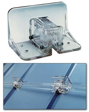Polar Blox Original / NARROW Standing Seam Snow Guard, 1/2 in wide - Polar Blox Original NARROW Standing Seam Snow Guard. Super Strong UV resistant clear Lexan. Guards fit seams up to 1/2 inch wide and 1-9/16 inch high. Can use together with optional bars. Price/Each.