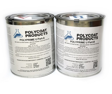 Polycoat PolyPrime U Primer Kit, 2-Part, (2G) - Polycoat PolyPrime U 2-Part Polyurethane Primer Kit. Gray Color (when mixed). 2-part System. Parts A + B, 2 Gallons total. Price/Kit. (UPS ground shipping only)