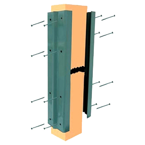 Deck / Fence Post Repair Kit, Khaki (10 Pair) - Deck / Fence Post Repair Kit. Khaki Color. Powder coated steel, 16 inch long. Fits 4 inch wide post. Includes screws. 10 Pair/Box. Price/Box.