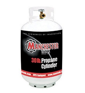 30# DOT Refillable Propane Cylinder, Vertical, ACME/QCC/POL - Manchester Tank 1160TC.5 30# DOT Grade Refillable Propane Cylinder, Vertical, OPD Valve with ACME/QCC/POL Fitting. White Powder Coated Steel, 12.2 diameter x 23.4 inches tall. Holds 30# / 6.8 gallons of Propane. Price/Each.