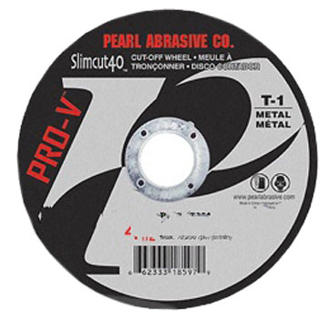 Aluminum Oxide Thin Cut-Off Wheel, Slimcut40, 4-1/2 x .040 x 7/8, (Box/25) - Aluminum Oxide Thin Cut-Off Wheel, Slimcut40, Pearl Abrasives PVCW4532A, 4-1/2 inch Diameter x .040 inch Thickness x 7/8 inch Center Hole, A46-Grit, Slimcut 40 Pro-V T-1 Shape. 25/Box. Price/Box.