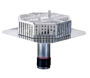 5 in. Deluxe Retrofit Low-Profile Aluminum Body Roof Drain - 5 INCH DELUXE RETROFIT ALUMINUM ROOF DRAIN BY OMG, WITH LOW PROFILE 14x14 INCH DRAIN DOME AND 9 LONG x 5 INCH DRAIN SIZE STEM. PRICE/EACH.
