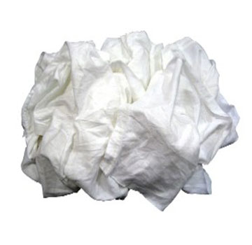 White T-Shirt Grade Rags (50Lb) - White Knit Cotton, T-Shirt Grade Rags, Cleaned, Sized, Cut and Boxed. 50-LB/Box. Price/Box.