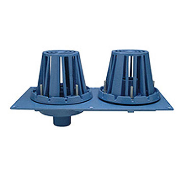 Zurn Combo Roof Drain / Overflow, Cast Iron Dome, No-Hub 4 in. Outlet - Zurn RD2130-NH4 Combination Roof Drain and Overflow Drain. Cast Iron Body and dual 6-inch CI Domes. 4 inch No-Hub Outlet. Price/Each.