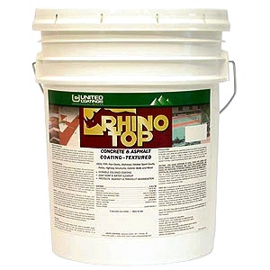 Rhino Top Epoxy-Acrylic Concrete/Asphalt Coating, SMOOTH, TINTED, 5G - Rhino Top Acrylic-Epoxy Concrete/Asphalt Coating, Smooth (not textured), Factory Tinted. 5-Gallon Bucket. Price/Bucket. (specify color before adding to cart; shipping leatime 1-2 weeks)