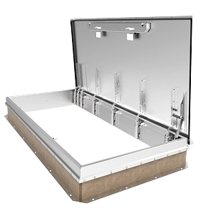 30 X 96 M-3, Stair Access Roof Hatch, Galvanized Steel, WHITE - Milcor M-3, 30 x 96 inch Ship Stair Access Roof Hatch, Single Cover WHITE Powder Coat Finish Galvanized 14 Gauge Steel and Curb. Hinge is on the 96 side. Made in USA. Price/Each. (shipping lead time is 1-2 weeks)