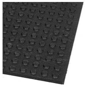 Roof-Gard Walkway Rubber Mat / Pad, 3/8 in. x 2 x 3 ft. - Humane # MAZ8285 Roof-Gard Walkway Mat / Pad. 2 x 3 Feet, 3/8 inch Thick with Round Raised Button Dots. Charcoal Color. Made from recycled tires. Price/Each. (ship leadtime 1-2 business days)