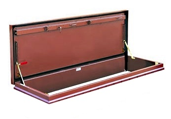 30 x 96 inch VersaMount Hatch, Galv. Steel, RED Primer Color - 30 x 96 inch BILCO-L-20VM VersaMount Replacement Roof Access Hatch/Lid. Cover and Frame are 14 gauge (2 mm) Red Oxide Painted G-90 Galvanized Steel. Hinge on 96 inch side. Made in USA. Price/Each. (see notes in detail view)