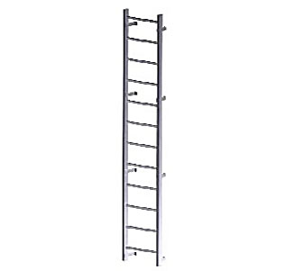 Fixed Wall-Mount Ladder, for Roof Hatch Access, (10-20 ft) - Fixed Wall-Mount Roof Access Ladder. For Roof Hatch / Roof Access. 1500 lb. Capacity. Heavy Duty All Aluminum Construction. Available 10-20 Foot Options. Price/Each. (specify length before adding to cart; special order, 2-3 week leadtime, not-returnable)