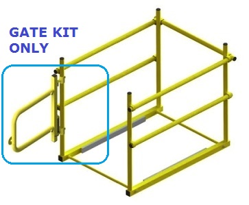 Self Closing Gate Kit, for Roof Hatch Safety Railing - Self-closing Adjustable-width (23-36 in.) Gate Kit. Fits rooftop accessories roof hatch railing systems. Yellow powder coat finish. Price/Kit. (aka SHG-2436; front gate only, does not include side or rear railing)