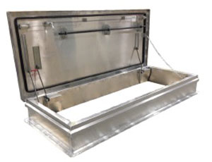 30 X 54 RD-2 Ship Stair Access Roof Hatch, All Aluminum, Mill Finish - Milcor RD-2, 30 x 54 inch Ship Stair Access Roof Hatch, Single Cover, Mill Finish Aluminum Cover AND Curb. Hinge is on the 54 side. Made in USA. Price/Each. (shipping lead time is 1-2 weeks; 30x96 shown in photo)