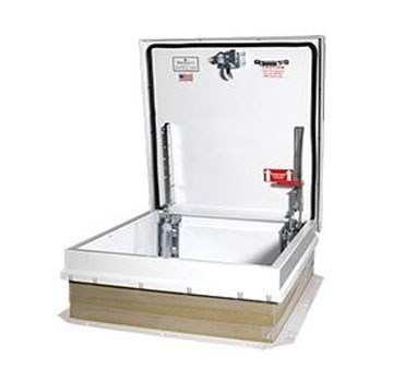 30 x 30 Roof Access Hatch, Galv. Steel, WHITE Color - Roof access hatch, 30 wide x 30 inch long opening, High Reflectance Brite WHITE color, 14 gauge galvanized steel cover, frame & self flashing base. Made in USA Babcock-Davis. Price/Each.
