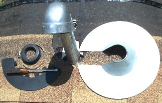 Retrofit Pipe Flashing Kit, 2 inch - 2 inch Retro-Spin® / Retro-Collar Kit. Consists of galvanized steel Retro-Spin Flashing base, 2.375 ID EPDM Retro-Collar Assembly (wrap-around flashing skirt + top plug), stainless steel band clamp. Fits 2.275 to 2.375 OD & DN50 Pipes. Price/Kit.