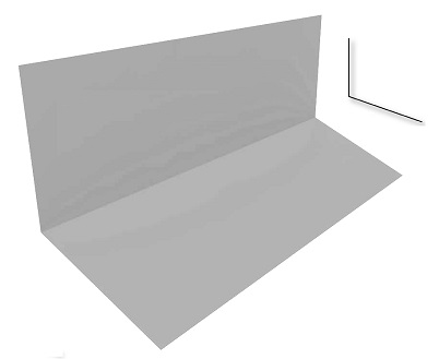 3 in. X 5 in. X 10 Ft, 110 Degree Roof To Wall Metal 26 Ga Galv. - 3 X 5 inch x 10 Feet, Roof-To-Wall / Headwall Flashing Metal, 110 Degree, 26 Gauge Galvanized Steel. Price/Each.