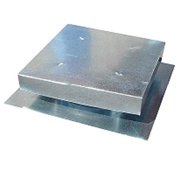 Roof Vent 18 X 18 in. Flat, Box Vent - Flat Roof Vent, 18x18 inch ID, 30x30 Base, 3.5 in. Rise, 8 in. Overall Height, 26 Gauge Galvanized Steel 247 sq.in. net free area. Price/Each. (20/pallet; special shipping rates available. Email us for quote request.)