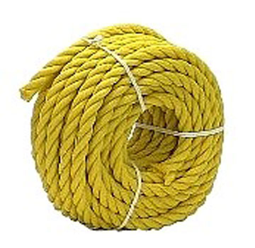 1/4 Inch x 300 ft. Yellow Polypropylene Rope - 1/4 inch x 300 Foot 3-Strand Twisted Monofilament Yellow Polypropylene Rope, UV Stabilised, 1250 lb. Break Strength. Price/Each.