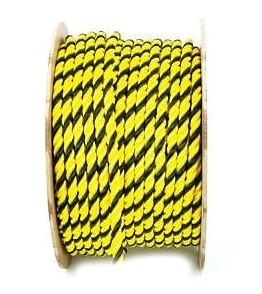 2 inch x 600 ft. Yellow/Black Polypropylene Rope - 2 inch x 600 Foot 3-Strand Twisted Monofilament Yellow/Black Polypropylene Rope, UV Stabilised, 46,800 lb. Break Strength. Price/Each. (aka # 640-0687-2009)