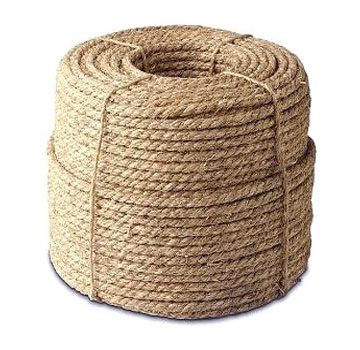 1/2 inch x 600 ft. Natural Fiber Manila Rope, 3-Strand - 1/2 inch x 600 Foot Manila Rope, Natural Fiber Twisted 3-Strand, 2385 lb break strength. Price/Each.