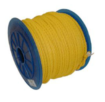 1/4 Inch x 600 ft. Yellow Polypropylene Rope - 1/4 inch x 600 Foot 3-Strand Twisted Monofilament Yellow Polypropylene Rope, UV Stabilised, 1250 lb. Break Strength. Price/Each.