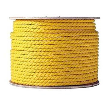 5/8 inch x 600 ft. Yellow Polypropylene Rope - 5/8 inch x 600 Foot 3-Strand Twisted Monofilament Yellow Polypropylene Rope, UV Stabilised, 5600 lb. Break Strength. Price/Each.