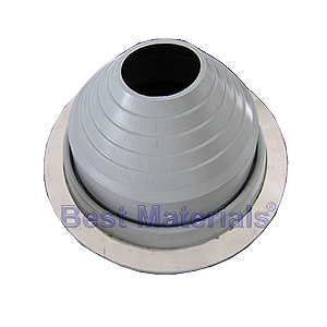 #7 Round Base Gray Pipe Flashing (1) - #7 ROUND BASE GRAY COLOR EPDM PIPE FLASHING. 14.6 Inch DIAMETER BASE. 4.9 Inch OPEN TOP. FITS 6 Inch to 11 Inch PIPES. PRICE/EACH BOOT. 10 boots/case.