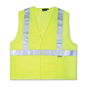Safety Vest, Reflective ANSI Class 2, Lime (case/10) - Reflective Safety Vest, ANSI Class 2. Lime color polyester mesh. Velcro closure. AwareLite reflective trim. Conforms to ANSI/ISEA 107 standard for design, color and reflectivity. Case of 10. Price/Case. (specify size before adding to cart)