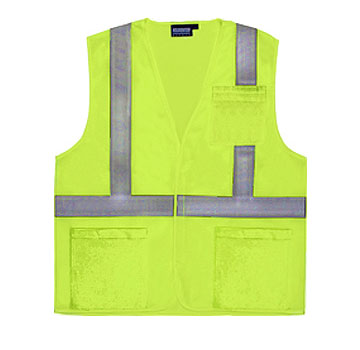 Safety Vest, Reflective ANSI Class 2, Lime, w/ Pockets (case/10) - Reflective Safety Vest, ANSI Class 2. Lime color Polyester mesh. 2 exterior waist pockets and 1 left chest pocket. Velcro closure. AwareLite reflecting trim. Conforms to ANSI/ISEA 107 standard for design, color and reflectivity. Case of 10. Price/Case.