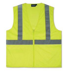 Safety Vest, Reflective ANSI Class 2, Lime,  w/ Zipper (case/10) - Reflective Safety Vest with Zipper, ANSI Class 2. Lime color polyester mesh. AwareLite reflective trim. Conforms to ANSI/ISEA 107 standard for design, color and reflectivity. Case of 10. Price/Case.