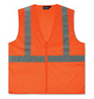 Safety Vest, Reflective, ANSI Class 2, Orange,  w/ Zipper (case/10)