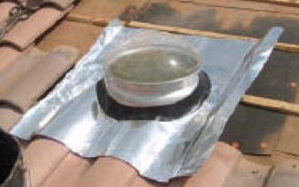 10 inch Skylight Tile Roof Flashing Skirt - 10 inch Tile Roof Flashing Skirt. Fits Natural Light 10K series Solar Lights , 32 in. x 35 inch skirt. Soft Heavy-Gauge Aluminum with a Rubber Seal. Fits over the base unit. Price/Each. (aka #10S; UPS shipping only)