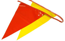 Pennant Flags, OSHA Safety Flagging, RED/YELLOW, 100 ft. (1) - Safety Pennant Flagging / Barricade Flagging, 100 feet. OSHA Compliant, 500 lb. Break Strength, 100 Foot Rope With 48 to 50 Large 12x16 Inch Alternating Bright RED & YELLOW Polyethylene Flags. Price/Each. (10/case)