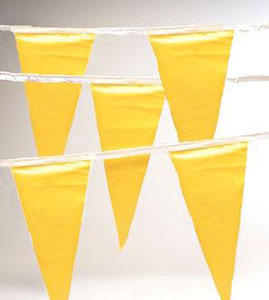 Pennant Flags, OSHA Safety Flagging, YELLOW, 100 ft. (1) - Safety Pennant Flagging / Barricade Flagging, 100 feet. OSHA Compliant, 500 lb. break strength, 100 foot rope with 48 to 50 large 12x16 inch Bright YELLOW Polyethylene Flags. Price/Each. (10/case)