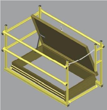 30 X 108 Roof Hatch Safety Rail System W Mount Brackets