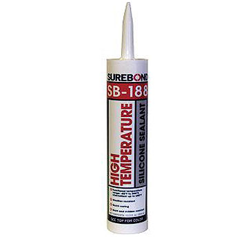 SB-188 500°F High-Temp. Silicone Sealant, BLACK 10.3 Oz (Case/12) - SB-188 High-Temperature Silicone Sealant, BLACK COLOR. 500°F (intermittant) High-Strength, Acetoxy / Fast Curing. 10.3 OZ Tubes. 12 Tubes/Case. Price/CASE. (shipping leadtime 1-2 days)