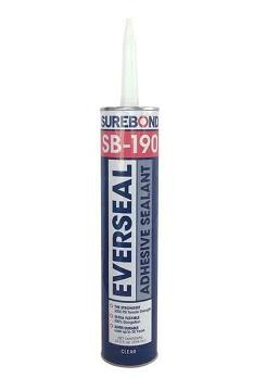 SB-190 Everseal High-Strength Adhesive Sealant, WHITE, 10.3oz, case/12 - Surebond SB-190 Everseal Exterior Grade High-Strength (2000 PSI tensile) Adhesive Sealant. WHITE color. 10.3 oz. Tubes. 12 Tubes/Case. Price/CASE. (flammable, Hazmat Shipping; UPS ground or truck shipment only)