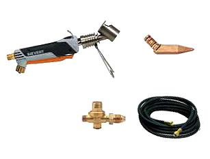 Sievert LSK2 Propane Soldering Iron Kit, 25 Ft Hose, Pyramid Bit - SIEVERT LSK2-30 BASIC SOLDERING IRON KIT, WITH #3366 SIEVERT PROMATIC UNIVERSAL HANDLE AND #7003 SOLDERING BURNER, STAND, #7004-00 14 OZ. PYRAMID COPPER BIT, 25