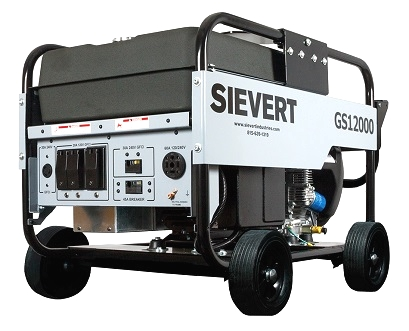 Sievert GS 12000, 12KW Portable Generator, Gasoline Powered - Sievert GS12000 Portable Electric Power Generator. 10,800 watt 120/240V 60A continuous output, 20HP Honda GX630, 15-Gallon Gas Tank, 4-Wheel No Flat Tires, Electric Start. Price/Each. (no air shipments; photo ID AND signature required for delivery)